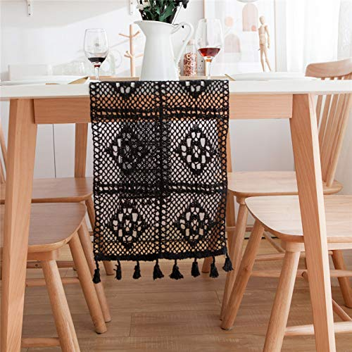 YUNSW Creative Hollow Bohemian Style Table Runner, Used For Wedding Party Table Decoration, Crochet Lace Table Runner, Elegant Hollow Net Table Runner