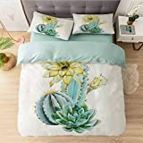 Juego de funda de edredón suave, diseño de cactus de acuarela con flores exóticas, funda de edredón de microfibra ligera con 2 fundas de almohada de calidad hotelera.
