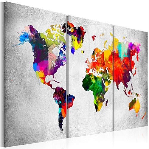 murando Acrylglasbild Weltkarte 120x80 cm 3 Teilig Wandbild auf Acryl Glas Bilder Kunstdruck Moderne Wanddekoration - Landkarte Map bunt grau Betonoptik k-A-0098-k-e