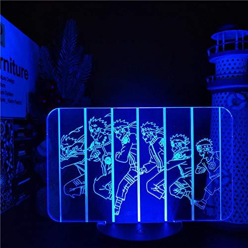 Luz nocturna 3D Naruto 3D Ilusión LED Luces de noche Lámpara de anime Uzumaki Naruto Iluminación visual 3D para regalo de Navidad ZGLQ
