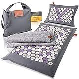 High Pulse Eco Tappetino agopressione incl. borsa + poster - Tappetino e cuscino per agopressione con magneti in fibre naturali stimola la circolazione sanguigna e allevia il dolore e la tensione