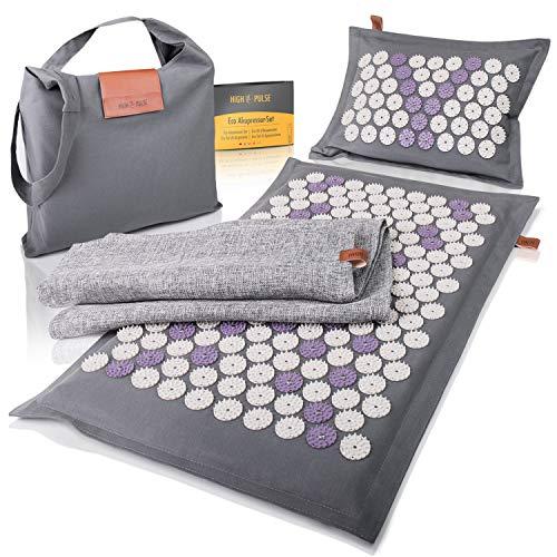 High Pulse® Kit de acupresión ecológico que incluye bolsa + póster – Esterilla de acupresión y almohada con imanes de fibra natural estimula la circulación sanguínea y alivia el dolor y la tensión