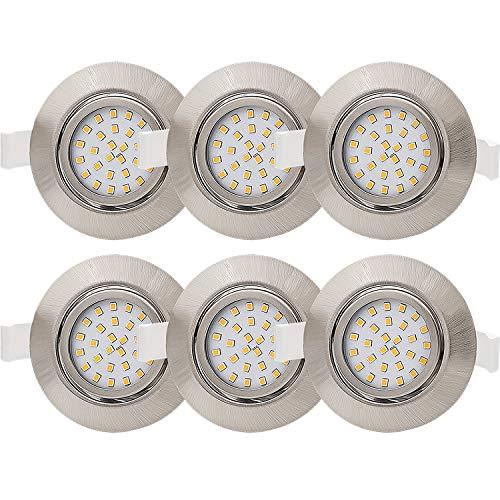 6x Lumare LED Einbaustrahler 4W 400lm 230V IP44 Ultra flach Wohnzimmer, Badezimmer Einbauleuchten silber rund, 68mm EinbauØ Mini Slim Spot warmweiß