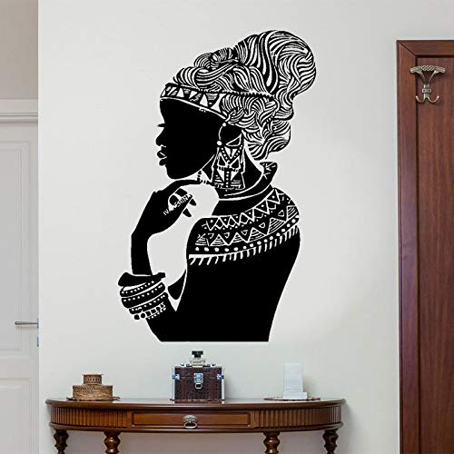 Tribal African Woman Decal Wandaufkleber Schöne Afro Girl Kleid Wohnkultur Wandkunst Design Wandbild Selbstklebend 57x90cm