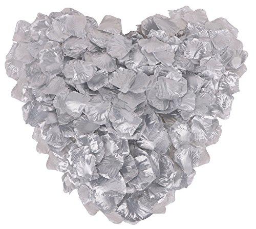 YoungLove 1000 Pieces Artificial Fake Rose Petals Wedding Party Decorations, Silver