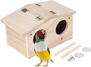 SANON Casa de Pájaros de Madera Nidos de Pajarera Accesorios de Jaula de Caja de Cría para Exterior Patio Decorativo de Ja...