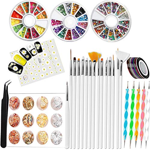 Nail Art Design Zubehör,15 Nail Art Pinsel Set-5 Punktierung Stift,3 Boxen Nail Art Strass Kit,10 Rollen Nail Art Stripes,12 Döschen Blattgold Nailart Goldfolie,Mit Pick Up Pinzette,Und Nagel Sticker