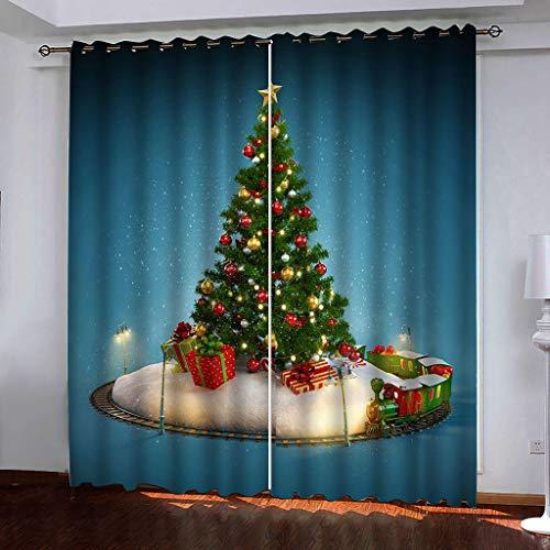 Fymmm`Shop Tende Oscuranti Decorazioni Natalizie Stampa 3D Albero Di Natale Camera Da Letto Soggiorno Cucina Tende Con Occhielli Isolate Termicamente 250(H) X140(L) Cmx2