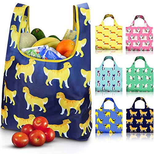 EasyEarth Reusable Shopping Grocery Bags EcoSilk [6 Pack] - Cute Dogs, Unbreakable, Foldable,...