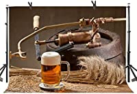 Zhy Wheat Brewing Beer Backdrop 7X5FT Ancient Craft Machine Wheat Ears Retro Countryside Photography Backdrop YouTube Photo Studio Prop Customize LLST281