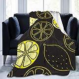 Mantas tamaño Queen, rodajas de limón y Limones Enteros en una Manta y Mantas de Cama Negra Sofá Cama Suave y cálida Suave y Liviana Sofá Cama para niños Adultos 60x50 Pulgadas