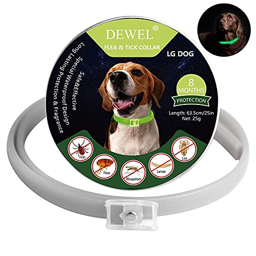 Collar Antiparasitario para Perro, Collar Luminoso Perro para contra Garrapatas y Mosquitos, Tamaño Ajustable e Impermeable para Mascota Pequeño Mediano Grandes