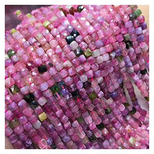 ZITENG CGBH Perlas de Aquamarine Amatista Naturales turmalina de Piedras Preciosas talladas Perlas Cubo 4.5-5m m for la joyería Que Hace 15.5inch (Color : Tourmaline)