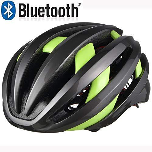 EDW Fahrradhelm mit 4,1 Bluetooth abnehmbaren Warnleuchten leichte stoßfeste Schutzhelm Outdoor Riding Schutzausrüstung Music Call Black & Green