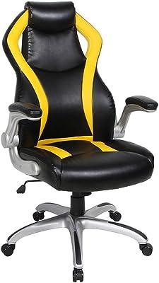 VIVA OFFICE Silla de oficina racing gaming ergonómica de cuero natural regenerado con respaldo alto,