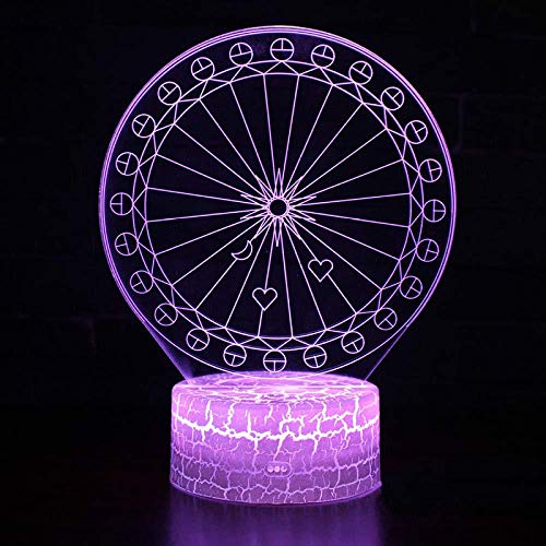 Ferris Wheel Theme 3D Lámpara Led Night Light 7 Cambio de color Touch Mood Lamp Touch Plus Control remoto
