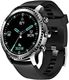 Tinwoo Smart Watch for Men, Support Wireless Charging, Bluetooth Fitness Tracker with Heart Rate Monitor, Smartwatch for Android Phones Compatible with iPhone Samsung