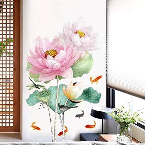 Moda Pegatinas de pared Lotus Estilo chino Creativo Flor de la pared Pegatinas de pared Cálido Dormitorio Wallpaper Pintura autoadhesiva Sofá Fondo Fondo de pared Decoración de la pared Disposición de