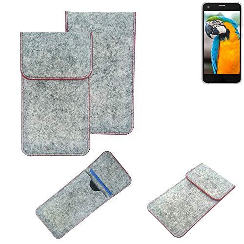 K-S-Trade® Handy Schutz Hülle Für Vestel V3 5040 Schutzhülle Handyhülle Filztasche Pouch Tasche Hülle Sleeve Filzhülle Hellgrau Roter Rand