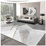 Alfombra Salón,Alfombras de Salón de Diseño,Alfombra Salón Comedor Dormitorio Moderno, Pelo Corto,Suave LavableAdecuado para Sala deEstar Dormitorio Estudio,Varios tamaños-Gris blanco 1.6x2.3m(5.2x7.5