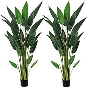 Silk Flower Arrangements Artiflr 2Pack 5.3Ft Artificial Bird of Paradise Plant Fake Tropical Palm Tree with 25 Detachable Trunks Faux Tropical Plant Tree for Indoor Outdoor, Perfect for Home Garden Office Store Decoration