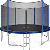 JUPA 15FT Trampoline Capacity 375lbs with Safety Net Enclosure, Strong Heavy Duty Backyard Trampoline with Net, Outdoor Trampoline for Kids, Teens and Adults