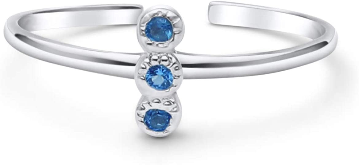 Chicago Mall KEZEF Creations High Polished Sterling Silver for Wo Long-awaited Toe Ring CZ
