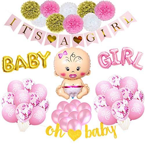 Babyparty Deko Mädchen Set XXL, Dekoration Baby Shower für Mädels - It's A Girl Girlande, Ballon Baby Girl Banner, Oh Baby Banner, Schnuller, Luftballons Confetti, Babydusche Dekorations Rosa