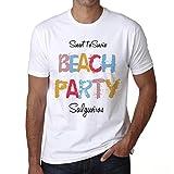 Salgueiros, Beach Party, Fiesta en la Playa, Camiseta para Las Hombres, Manga Corta, Cuello Redondo, Blanco