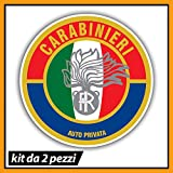 N. 2 Adesivi Carabinieri, vetrofanie interno vetro, Stencil in vinile PVC per auto personale Arma dei Carabinieri, decalcomania Auto moto camper