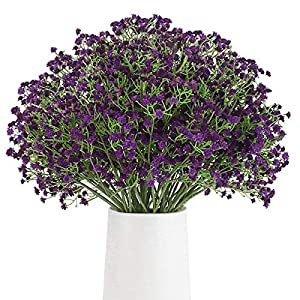 Silk Flower Arrangements BOMAROLAN Artificial Baby Breath Flowers Fake Gypsophila Bouquets 12 Pcs Fake Real Touch Flowers for Wedding Decor DIY Home Party (Deep Purple)