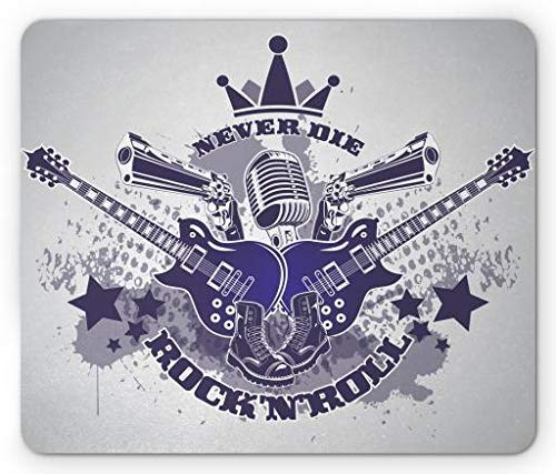 Rock and Roll Mouse Pad, Rock N Roll Never Die Quote with Punk Boots Stars and Crown, Standard Size Rectangle Non-Slip Rubber Mousepad, Purple Grey and Pale Grey