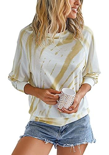 Damen Langarmpullover mit Rundhalsausschnitt und Batikmuster Buntes T-Shirt Lässige Bluse Gelb L