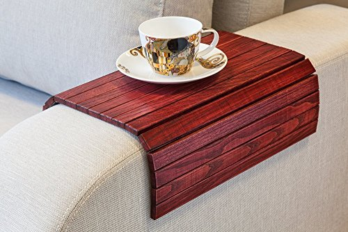 Vintage Red Sofa Side Tray Table - Wood Armrest Tray – Sofa Tray Table - Surface For Coffee/Meals/Laptop - 22.5' x 14'