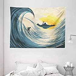 Ambesonne Ocean Tapestry, Illustration of Cloudy Sky Tropical Island Wave and Surfer at Sunset Seascape, Wide Wall Hanging for Bedroom Living Room Dorm, 80 X 60, Beige Yellow