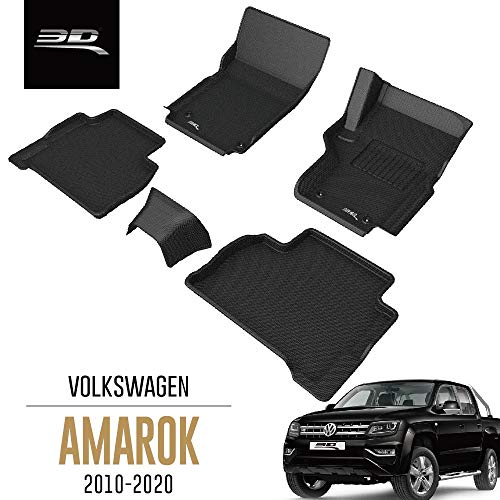 3D MAXpider All-Weather Car Floor Mats for Volkswagen VW Amarok 2010-2020 Tailored Premium Hybrid Rubber Car Mat Set (Row 2 without Seat belt Cover)