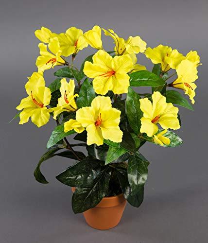 Seidenblumen Roß Hibiskus 40cm gelb im Topf ZF künstliche Pflanzen künstlicher Eibisch Kunstblumen Kunstpflanzen