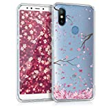 kwmobile Hülle kompatibel mit Xiaomi Mi 6X / Mi A2 - Hülle Handy - Handyhülle - Kirschblütenblätter Rosa Dunkelbraun Transparent