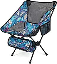 G4Free Upgraded Portable Camp Chair, Folding Compact Backpacking Chairs Heavy Duty 240lbs Ultralight for Outdoor, Camping, Travel, Beach, Picnic, Festival, Hiking (Maple Leaf Blue)