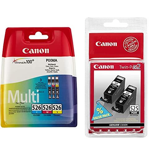 Canon CLI-526 Cartouche C/M/Y Multipack Cyan, Magenta, Jaune (Multipack Plastique sécurisé) & PGI-525 Cartouches BK Noires Pack de 2 (Emballage Plastique)