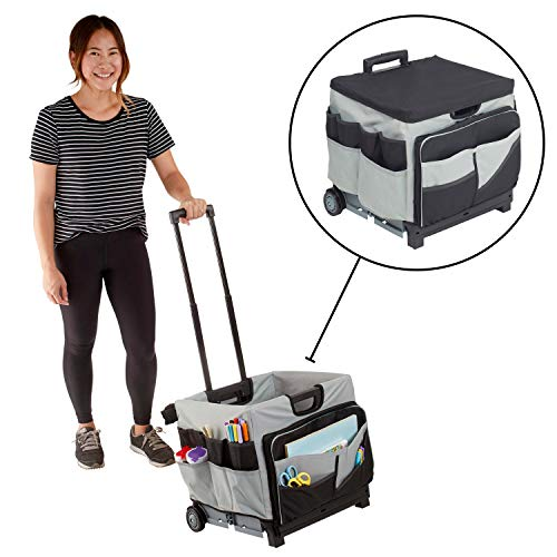 ECR4Kids MemoryStor Universal Rolling Cart and Organizer Bag Set, Black/Gray, Black/gray,...