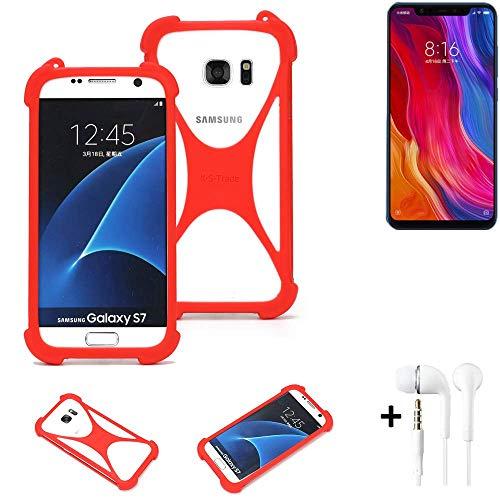K-S-Trade® Handyhülle + Kopfhörer Für Xiaomi Mi8 Youth Schutzhülle Bumper Silikon Schutz Hülle Cover Case Silikoncase Silikonbumper TPU Softcase Smartphone, Rot (1x),