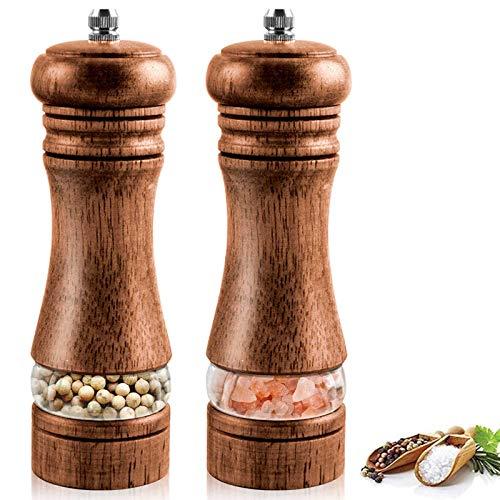 IAGORYUE Salz und Pfeffer Mühle Set, Premium Holz Pfeffermühle mit, Gewürzmühlen, Manuelle Salzmühle mit, Einstellbarer Keramikmahlwerk, leicht zu befüllen und nachfüllbar (2 Stück)