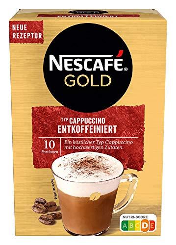 NESCAFÉ Gold Typ Cappuccino Entkoffeiniert, Getränkepulver aus entkoffeiniertem löslichem Bohnenkaffee, 1er Pack (à 10 x 12,5g Sticks)