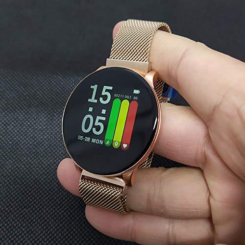 XuBa W8 Smartwatch voor dames, weersvoorspelling, fitness, sport-tracker, hartslagmonitor, smartwatch, Android, vrouwen, mannen, intelligente armband, Eén maat, Acier doré