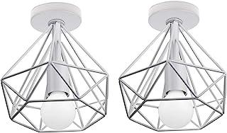 2 Pcs Lámpara de Techo Industrial Vintage ⌀200mm Simple Plafón Diamante luz de Techo Colgante LED Moderno Interior Iluminación Dormitorio Baño Pasillo Loft Entrada, Blanco (A)