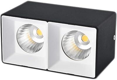 Downlight Superficie montada downlight cuadrado led luz de techo Techo doble cabeza Proyector rejilla caja luz (color : NEGRO-3w White light): Amazon.es: Iluminación