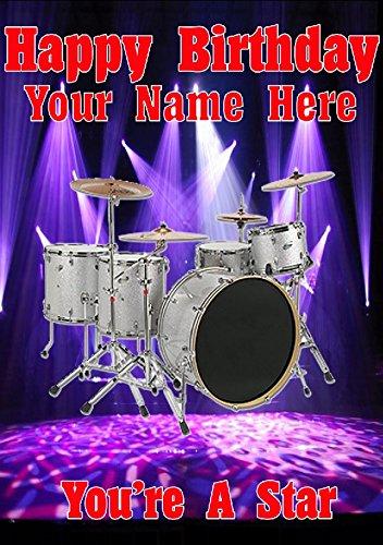 """Schlagzeug, Schlagzeuger, cptmi8, mit Schriftzug""""Happy Birthday"""", A5-Format,personalisierbare Grußkarte, aus Derbyshire, Großbritannien"""