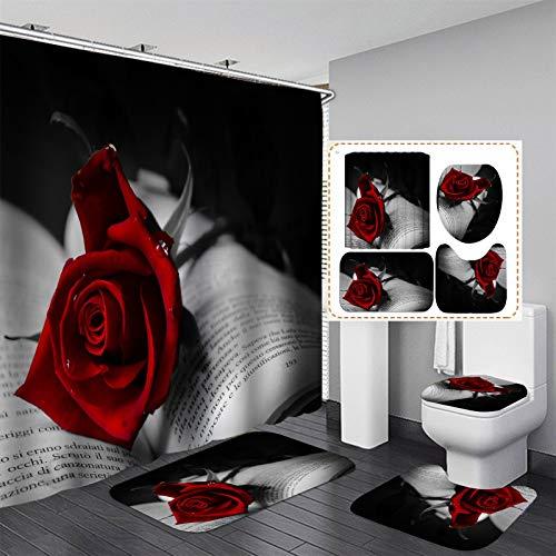 Diseño Día de Decoración Accesorios de baño de 4 piezas de baño cortina de ducha de Rose Valentine impermeables Decoración de baño de tela de poliéster con ganchos ( Color : A , Size : 59*70.8inch )
