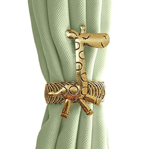 CatInAFishTank Vorhang-Raffhalter, 2 Stück, Safari-Tier-Vorhanghalter mit selbstverstellbarem Ring für Kinderzimmer & Kinderzimmer Dekor (Messing Gold)